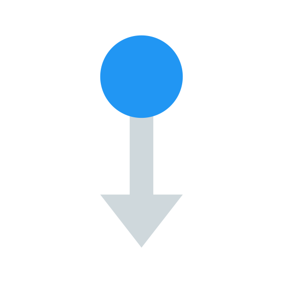"""Przesuń w dół icon. The """"swipe down"""" symbol here consists of a circle, with a straight line extending down from its lower half in the middle, with two diagonal, upward-reaching lines extending upwards from the end of the line. It is a circle with a downward-pointing arrow extending from it."""