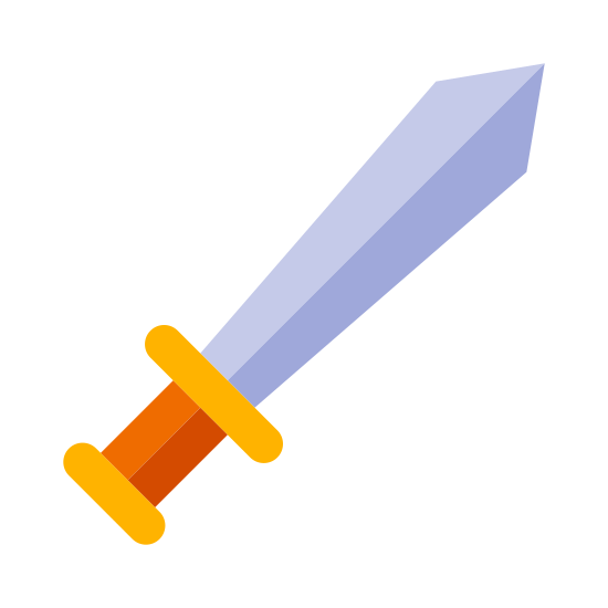 Sword icon. This is an image of a sword. The sword is facing on its diagonal and is pointing towards the upper right corner. On the very bottom of the sword is a circular base.