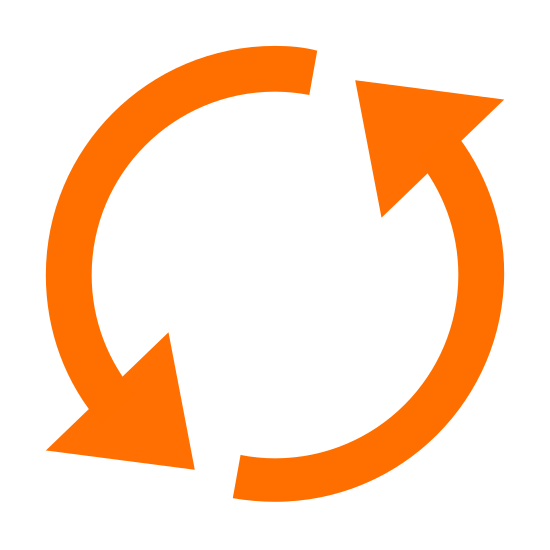 Synchronisieren icon. There are 2 circular lines following each other with an arrow on the ends of the circular lines. The are working together as a revolving circle to complete a rotation.
