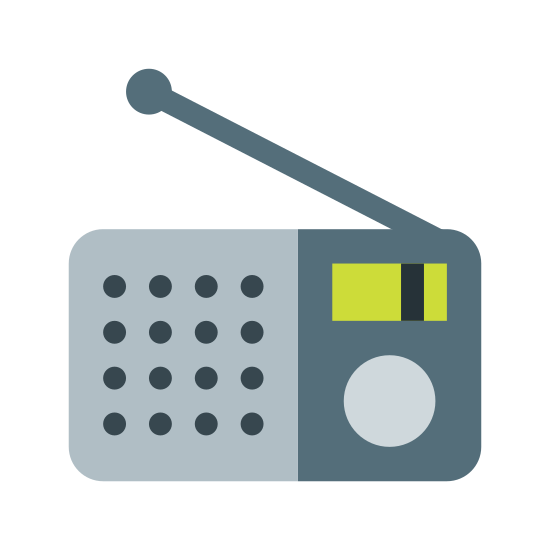 Radio Station icon. It's a old school tabletop radio that was popular pre-1960s. It has a rectangular bottom with small pegs and a curved top, a large speaker on the left side and a slider and round knob on the right.