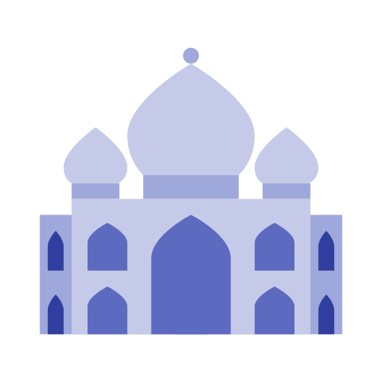 Taj Mahal icon. This icon looks like temple.  It has a tapered walkway, three domed shape items on the top, and has two squares that are tapered off at the top.