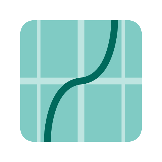Tangent icon. This looks like a curvy line underneath a straight line. The straight line is slightly at a slant, going from the bottom left to the top right. The lines are intersecting.