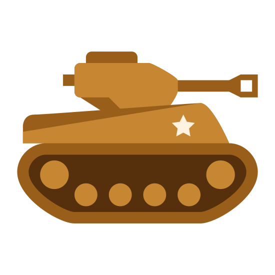 Tank icon. This logo indicates a war vehicle known as a tank, shown from the side. The part that touches the ground is a rectangle with circles on the inside of it which allows the tank to roll as it drives. On top of this is a small box which has a large gun pointed out the front of it.