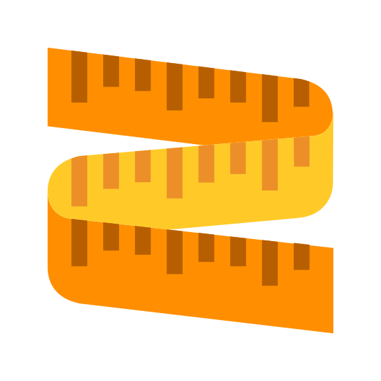 Miarka icon. This icon is meant to represent a flexible tape measure like the type a seamstress might use. It curves around to form an S shape and has many vertical lines that are meant to represent the measurement markings that are always found on these types of devices.