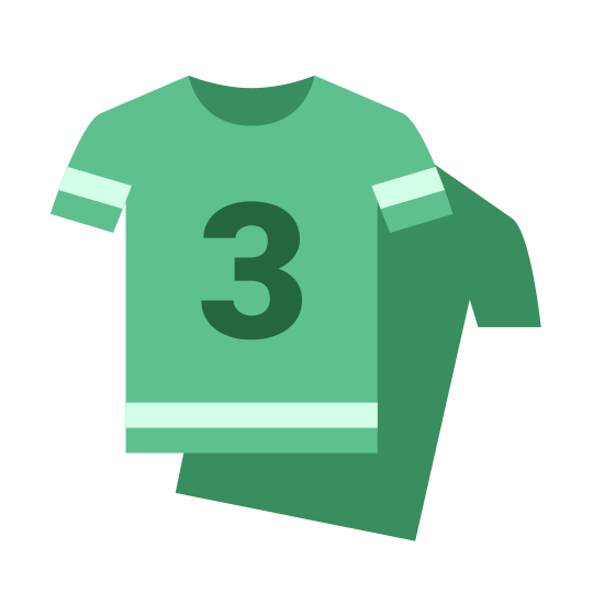 Squadre icon. The icon is a picture of two shirts. The shirts appear to be team jerseys with a number 3 on the first one. The icon is used to describe teams.