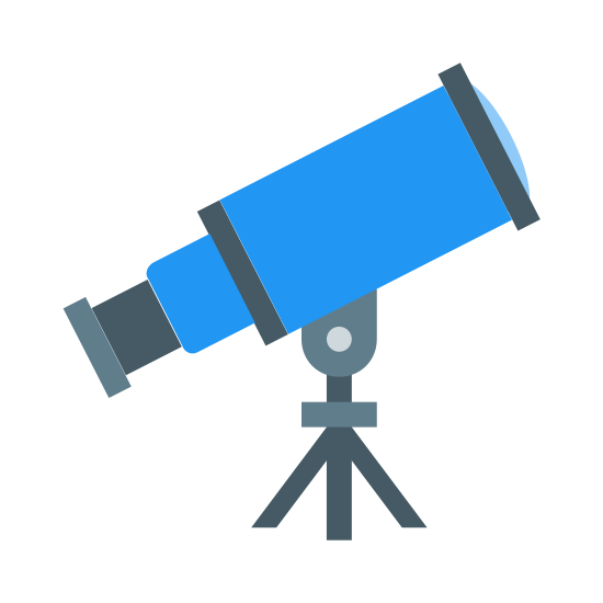 Telescope icon. This icon is depicting a telescope. The main body of the telescope is conical shaped and segmented into three portions. The main body of the telescope rests on a tri-pod and is facing northeast.