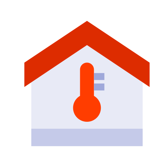 Temperature Inside icon. This image for temperature inside depicts the outline of a house. It is in the shape of a square, with a roof that is slanted upwards at the top. In the center of those there is a large thermometer symbol.