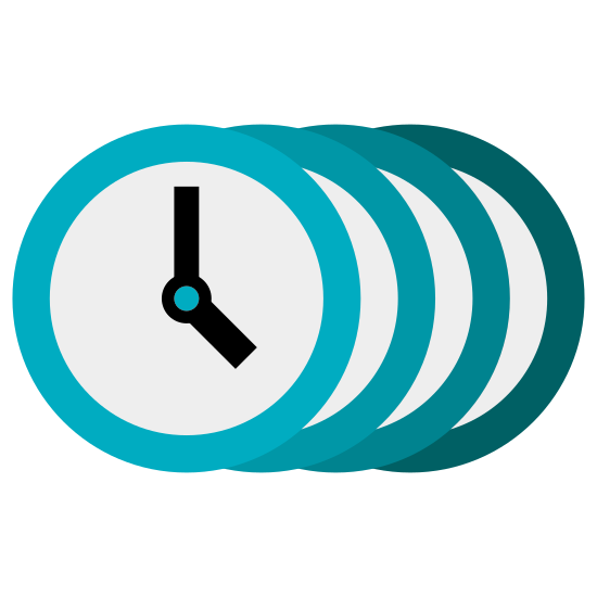 Czasy icon. This icon represents different tenses in time. There is a circular clock overlapping four different clocks that are to the right of the main clock.