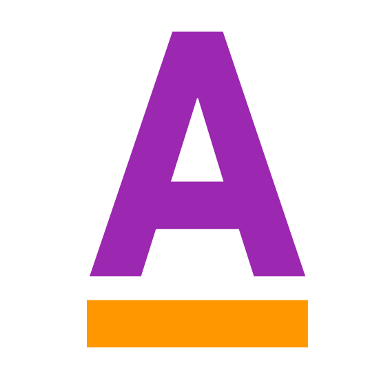 Text Color icon. This icon has to do with typography and editing and incorporates the letter A, which is capitalized.  Underneath the letter A is a long rectangle that completely underlines the letter A.