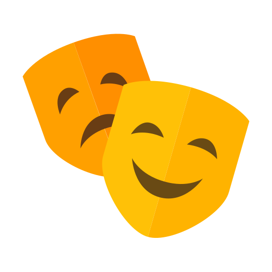 Maska teatralna icon. Stereotypical Shakespear derivative two masks. One in front leaning on it's left side, smiling and happy. One in the back, leaning on the opposite side, sad and downtrodden.