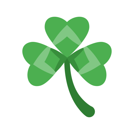 Three Leaf Clover icon. Three open tipped heart-shaped leafs, one with the humps pointing left, one up, and one to the right. From the center where they all meet is a stem in the shaping of a waxing crescent moon, concave to the right.