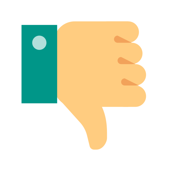 Thumbs Down icon. Its a hand making a thumbs down sign. The hand is somewhat rectangular and the thumb pointing down is at about a twenty-five degree angle. The index finger and pinkie are approximately the same size, and the two middle fingers are the same size as each other.