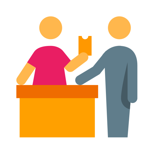 Zakup biletów icon. It's a logo of a person standing behind a desk handing a ticket to a person standing in front of the desk. The person behind the desk is a worker and the person in front of the desk receiving the ticket is a traveler.