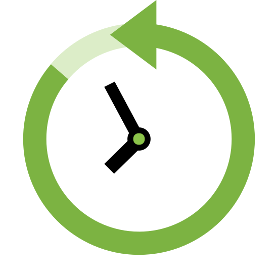 Time Machine icon. The past icon is a represented with a clock. Instead of a complete circle like most clocks are, the clock is shown with an arrow that makes a circle. However, the arrow is going in a counter clockwise motion to show that it is going backwards or in the past.