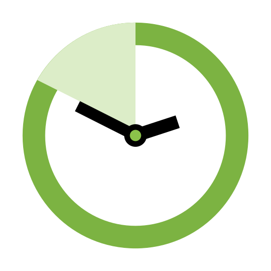 Time Span icon. The outer shape is a circle. In the center of the circle is a dot with two straight lines extending towards the outer circle. One line is shorter and points in towards the right and the other line is longer and points towards the upper left. A one eighth section of the circle is filled in with parallel lines.
