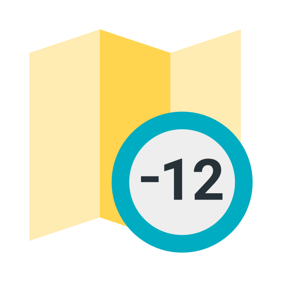 Strefa czasowa +12 icon. The icon is describing the users time zone. It is in the shape of a wavy paper thin wall with polka dots, and has a circle with the number +12 inside of it, located on the lower right section of the wavy paper thin wall.