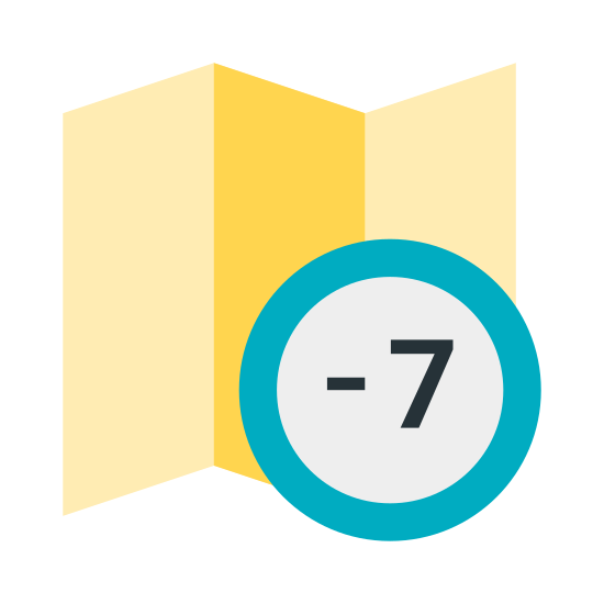 Часовой пояс -7 icon. A timezone -7 icon is a foldout map symbol and both sides of the map the lines will be straight. However, on the top and the bottom will be a zig zag pattern to show the foldout. An important aspect of the timezone -7 icon is that there will be a -7 in a circle on the map.