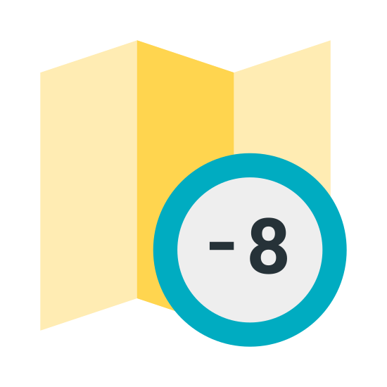 Timezone -8 icon. The image depicts a creased map with four quadrants and dots on each section of the map. In the bottom right section of the map is a minus eight symbol enclosed within a circle.