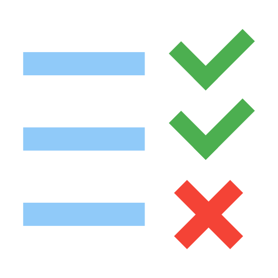 To Do icon. This icon has 3 check marks on top of each other on the left side. To the right of each check mark are 3 horizontal lines. They are not attached, though.