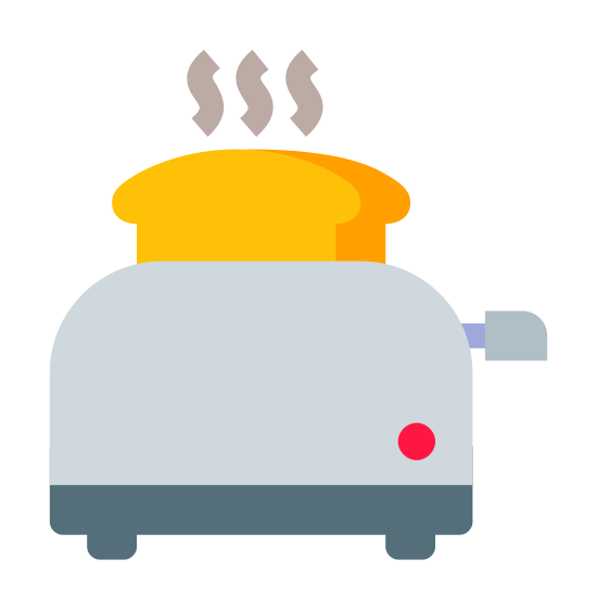 Toaster icon. This icon represents a toaster. It is a rectangle shape with two lines on the bottom and a small circle in the right corner. It has two half squares coming out the top. On the right side there is a small lever in the middle. It has three squiggly lines one top of the icon.
