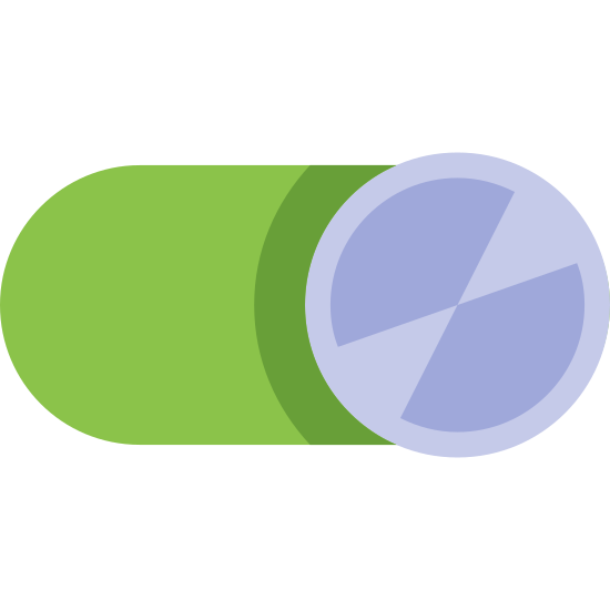Alternar encendido icon. This icon looks like a switch which can be toggled by sliding left to right. The border of the switch is a rounded oval, and the button itself is a circle which slides between two positions from left to right. The icon shows the circle in the right position.