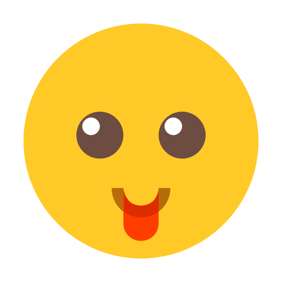 Langue tirée icon. There is a circle. Inside the circle are two identical curved lines (like rainbows) aligned next to each other to form the eyes. Beneath them is a gently curved line like a smile. extending from the lower part of this line is an arc shape.