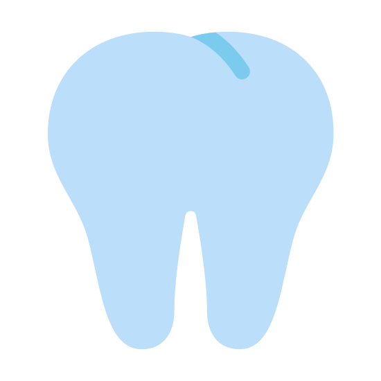 Ząb icon. It is an image of a tooth.  There are two medium length roots at the bottom, they are fairly symmetrical.  The top is rounded and divided into two bumps, with a short diagonal line in the middle to indicate the groove in the tooth.