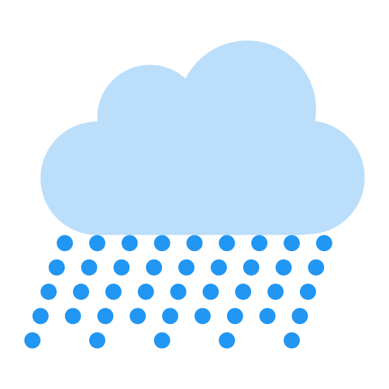Ulewny deszcz icon. This is a picture of a fluffy cloud with three circular puffs. it's bottom is flat and it has many raindrops falling from it. it seems to be more rain than a cloud would normally have.