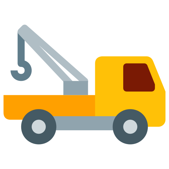 Abschleppwagen icon. A Tow Truck, Four wheels a front section that seats the driver and another passenger. The back of the truck has a hook that lifts the cars to be attached to the truck.