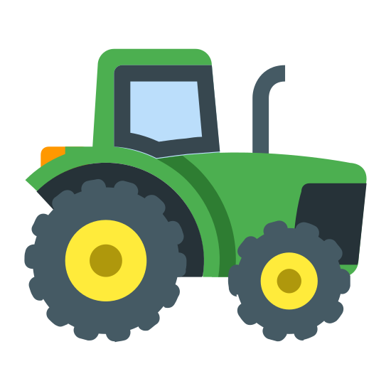 Tractor icon. It's a logo which represents a tractor.  The tractor is drawn with straight-lines and circles and the tractor is driving from left to right.  The tractor is simple with a covered cab an a smoke stack coming out of the hood of the tractor.