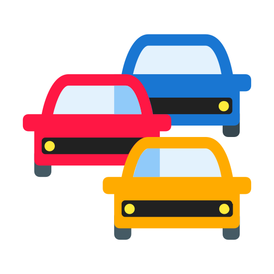 Traffic Jam icon. This is an icon representing a traffic jam. It has a drawing of three cars. One car is in the immediate foreground and in the middle of the image. The second car is behind and to the left of the first car. The third car is behind the second, to the right of both cars. The positioning of the first car impedes the movement of the other two cars.