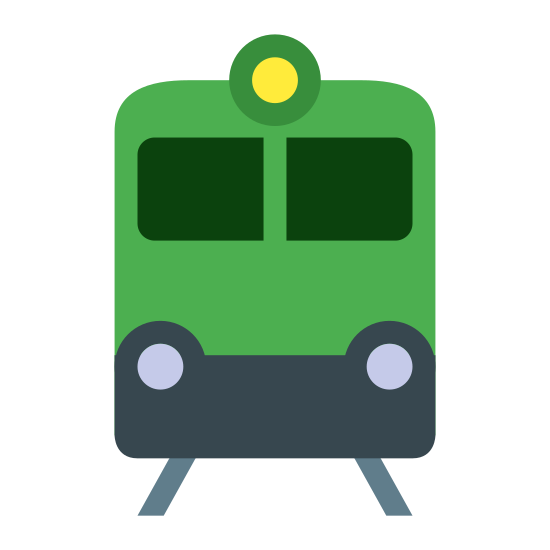Train icon. The icon shows a train or subway that is seen head on traveling down a set of rails. The front windshield is seen with headlights and a square box that would have information displayed.