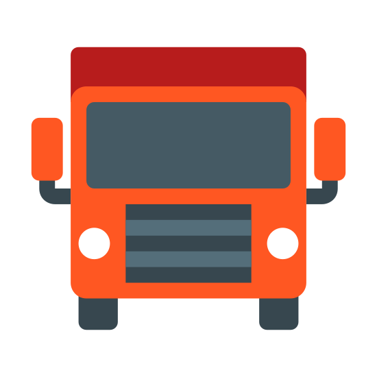 Transportation icon. It's a logo for transportation, and is the front of a vehicle. Two circles are placed onto a rectangle, representing headlights, and two stubs sit at either end of the bottom of the rectangle to represent wheels. On top of the rectangle is a rounded rectangle for the cab.