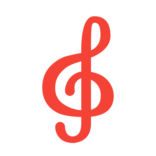 Treble Clef icon. The treble clef is like an ampersand that loops through. Its sort of like drawing a big nose and then the letter J through it.