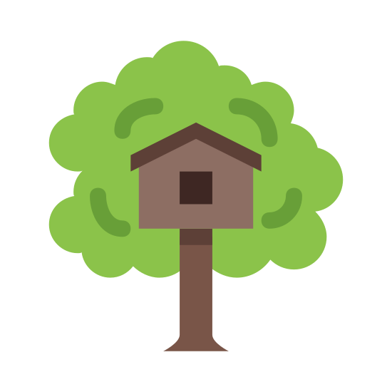 Domek na drzewie icon. This icon represents treehouse. It is a rectangle with a large flat bottom and a square on top. It has a wavy line all the way around the house representing a tree top. The square in the middle has a triangle top and a smaller square inside.