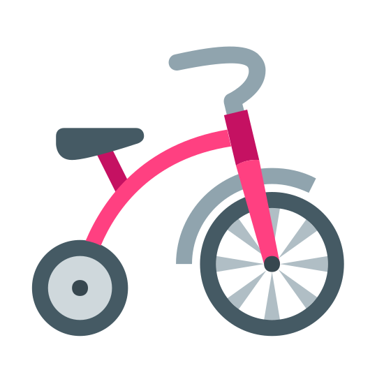 Trójkołowiec icon. This is a tricycle. The front wheel is larger than the rear wheel. There is a seat on the frame which goes from the rear wheel to above the front wheel. There are forks that go from the front wheel up through the frame to the handlebars.