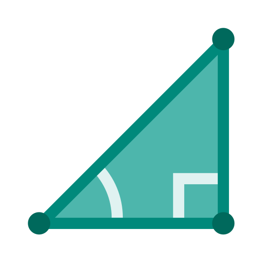 Trigonometry icon. It is a right triangle with the base on the bottom and a perpendicular side on the right.  There is a square in the bottom-right corner, indicating that it is a right triangle. There is an arc between the hypotenuse and the bottom base, near the bottom-left corner. Each of the 3 corners has a small dot on it.