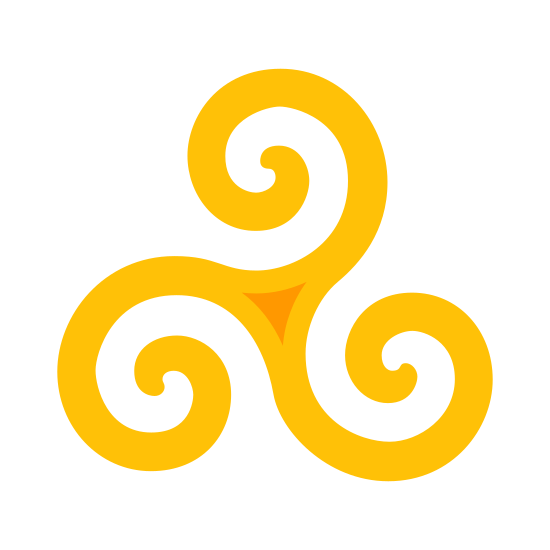 Triskelion icon. It's a motif showing three interlocked spirals, three bent human legs, or three bent/curved lines. These lines extend from the center of the symbol.