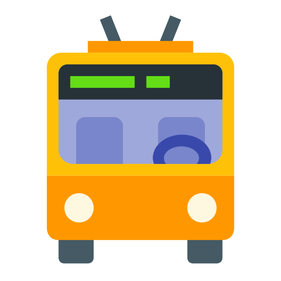 Obus icon. This is a picture of a trolley facing towards you. The window in front is very large, and it has two small antenna on top. There are two headlights, and you can see the wheels on bottom