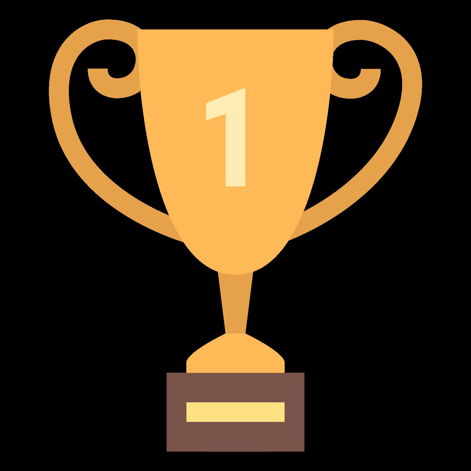 奖杯 icon. It's a goblet-like object with two handles (one on each side) and a small base. The number 1 is bold and centered on it. The main part of the trophy itself is shaped like the lower half of an elongated egg.