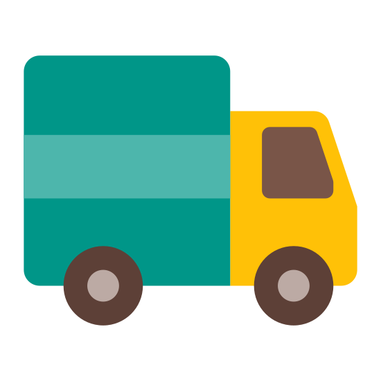 Ciężarówka icon. The icon has rounded edges, and is a stylized image of a motorized vehicle with four wheels that will hold two people in front, and can carry a large amount of cargo in back.
