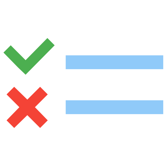 Prawda fałsz icon. It's a multiple choice for true or false. Ii has a check mark and a line to the right of it and then underneath an X with another line to the right of it for you to mark off.