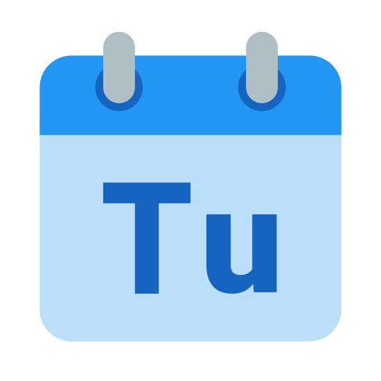 """Tuesday icon. A large rectangle, oriented with the short ends vertical. It has a rectangle the same length but 1/4 height sitting on top.1/4 in from each side is a small vertical rectangle. the Letters """"Tu"""" are inside the large rectangle."""