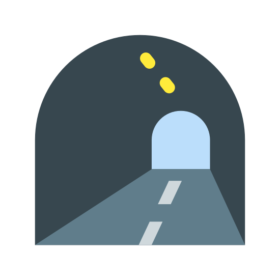 "Tunel icon. This icon represents a tunnel. It has an outline of a tunnel that looks like a ""C"" pointing downwards. There are three dashes below the ""C"" shape to depict where the road is."