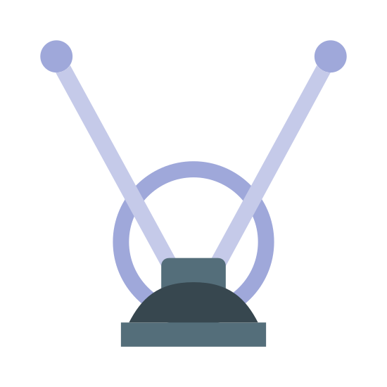 ТВ-антенна icon. It's an image of a TV antenna.  Their are two antenna that are straight and long, with little balls at the top.  The antenna protrude from the top part of a half circle.  The half circle is sitting directly above a horizontal line that indicates a surface.