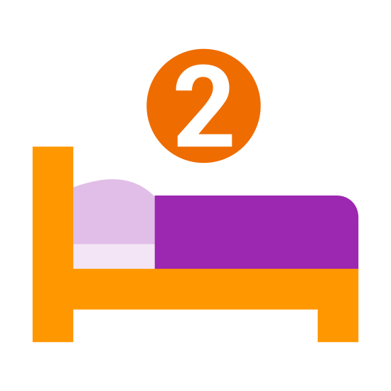 Dwa łóżka icon. This is a bed. Above the bed is the number 2. This means there are 2 beds in total.