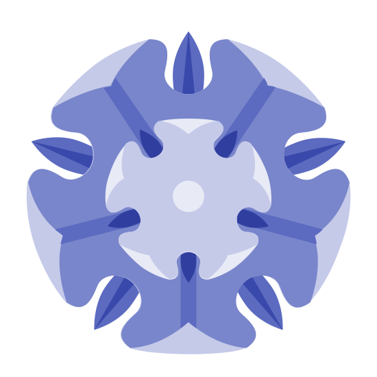 Tyrell House icon. It is a flower with five rounded petals which surround a perfect circular center. There are five rounded leaves whose juncture points meet at the outer center of each petal.