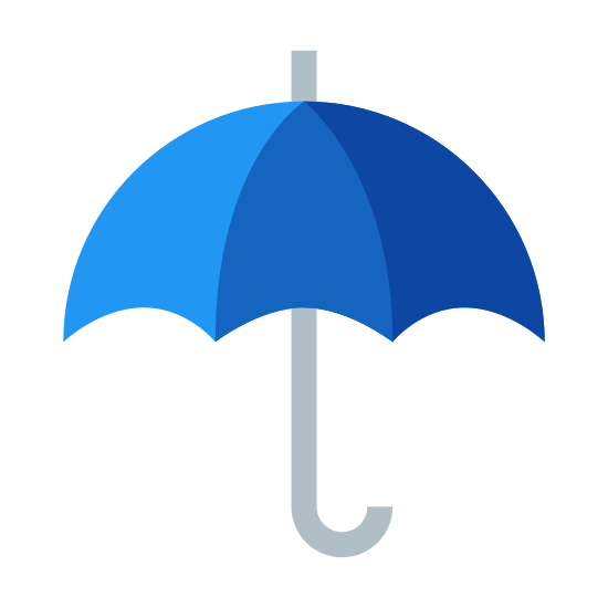 "Umbrella icon. The icon is an umbrella.  The umbrella has three small arches and a handle curved like the letter ""j"".  There is also a small antenna like spoke on the top."
