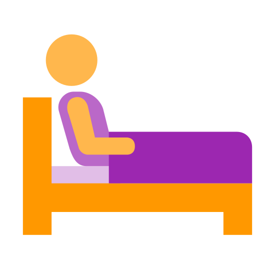Zapaść w śpiączkę icon. The image is of a bed with a person on it. The bed has a headboard which is on the left side. The profile of the person is shown as they are sitting up on the bed with their back to the headboard. They are facing right.
