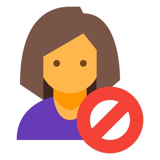 Reject icon. There is a blank upper body as in it has no face but it is clearly a woman due to the hair style. In front of this person drawn over but not completely covering it is a circle with a line through it.